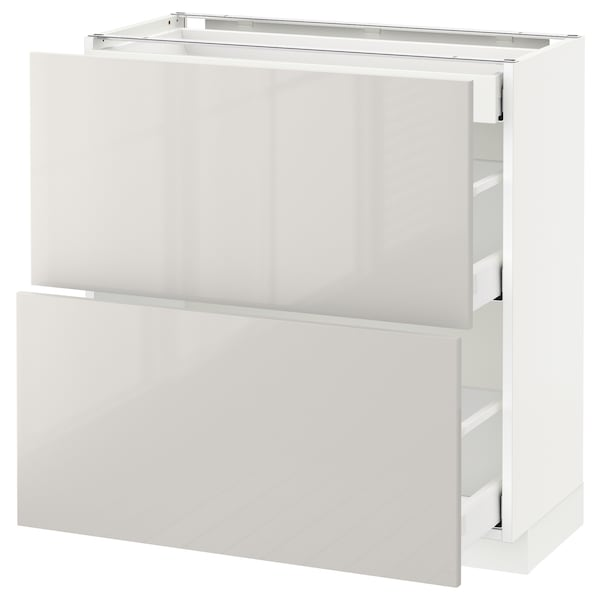 METOD Base cab with 2 fronts/3 drawers, white Maximera/Ringhult light grey, 80x37x80 cm