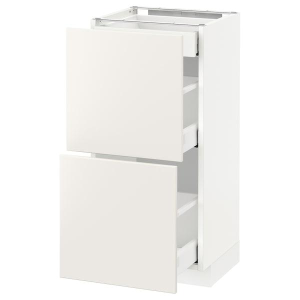 METOD Base cab with 2 fronts/3 drawers, white Maximera/Veddinge white, 40x37x80 cm