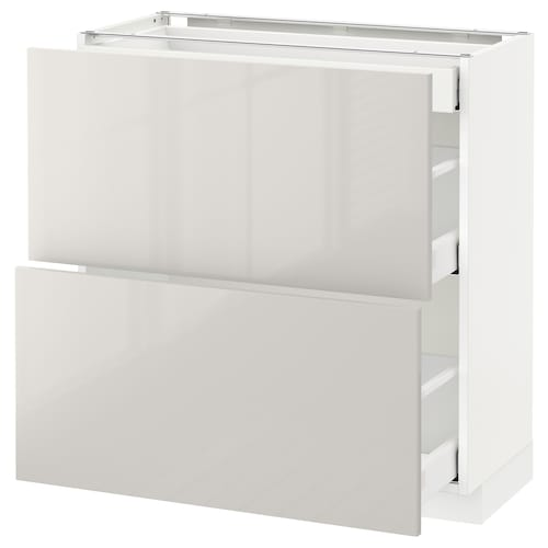 METOD base cab with 2 fronts/3 drawers white Maximera/Ringhult light grey 80.0 cm 37 cm 38.6 cm 80.0 cm