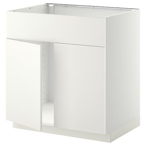 METOD base cabinet f sink w 2 doors/front white/Häggeby white 80.0 cm 61.6 cm 60.0 cm 80.0 cm