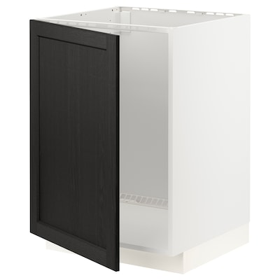 METOD Base cabinet for sink, white/Lerhyttan black stained, 60x60x80 cm