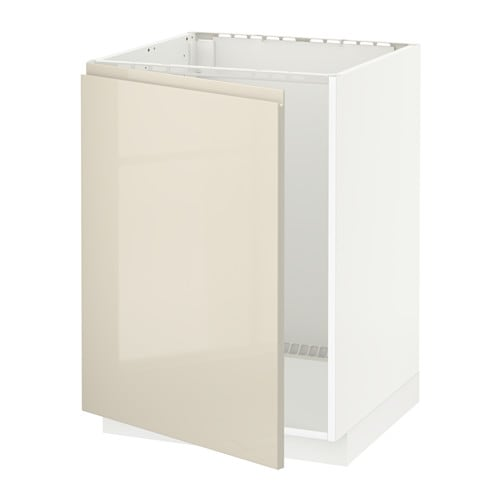 METOD Base cabinet for sink - white, Voxtorp high-gloss light beige ...