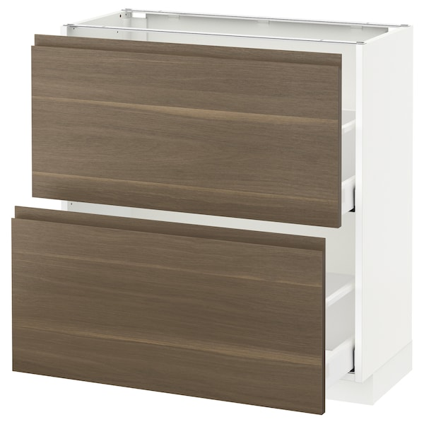 METOD Base cabinet with 2 drawers, white Maximera/Voxtorp walnut, 80x37x80 cm