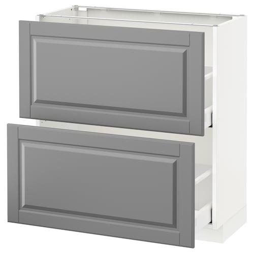 METOD base cabinet with 2 drawers white Maximera/Bodbyn grey 80.0 cm 37 cm 38.9 cm 80.0 cm