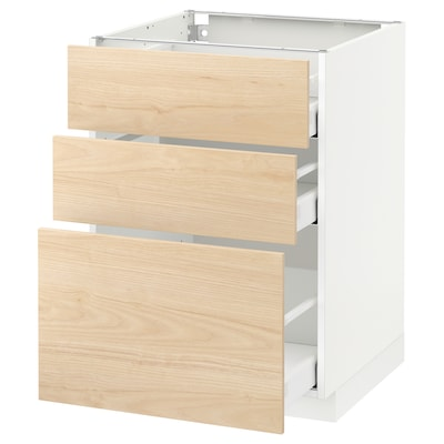 METOD Base cabinet with 3 drawers, white Maximera/Askersund light ash effect, 60x60x80 cm