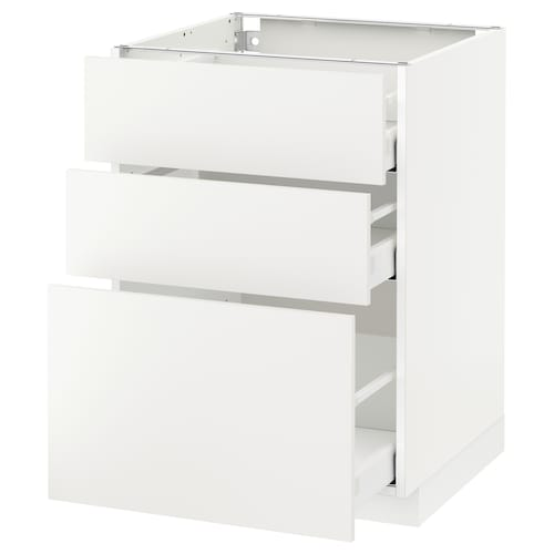 METOD base cabinet with 3 drawers white Maximera/Häggeby white 60.0 cm 60 cm 61.6 cm 80.0 cm