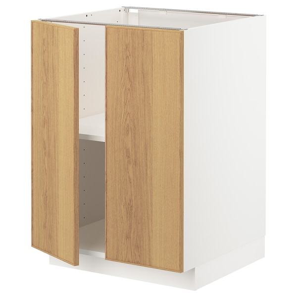 METOD base cabinet with shelves/2 doors white/Ekestad oak 60.0 cm 60 cm 61.6 cm 80.0 cm