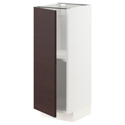 METOD base cabinet with shelves white Askersund/dark brown ash effect 30.0 cm 37 cm 38.6 cm 80.0 cm