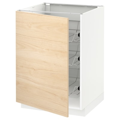 METOD Base cabinet with wire baskets, white/Askersund light ash effect, 60x60x80 cm