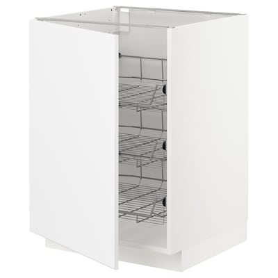 METOD Base cabinet with wire baskets, white/Kungsbacka matt white, 60x60x80 cm
