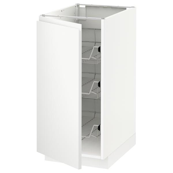 METOD Base cabinet with wire baskets, white/Voxtorp matt white, 40x60x80 cm
