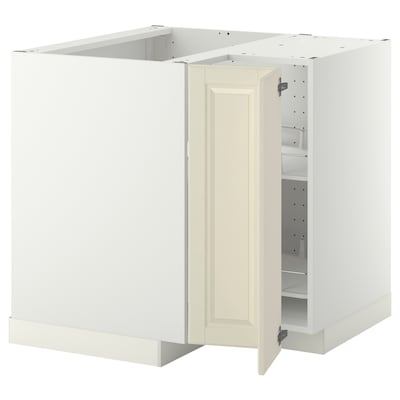 METOD Corner base cabinet with carousel, white/Bodbyn off-white, 88x88x80 cm