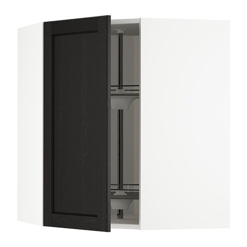 Metod Corner Wall Cabinet With Carousel White Lerh Black Stained