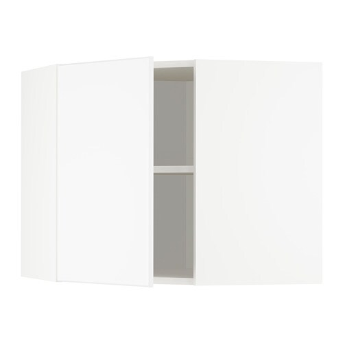 Metod Corner Wall Cabinet With Shelves White Kungsbacka Matt