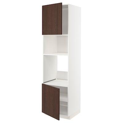 METOD Hi cb f oven/micro w 2 drs/shelves, white/Sinarp brown, 60x60x220 cm