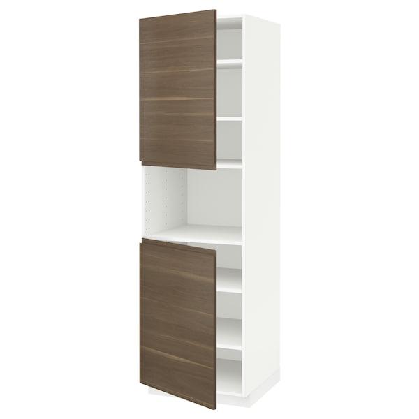 METOD High cab f micro w 2 doors/shelves, white/Voxtorp walnut effect, 60x60x200 cm
