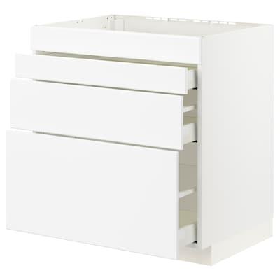 METOD / MAXIMERA Base cab f hob/4 fronts/3 drawers, white/Kungsbacka matt white, 80x60x80 cm
