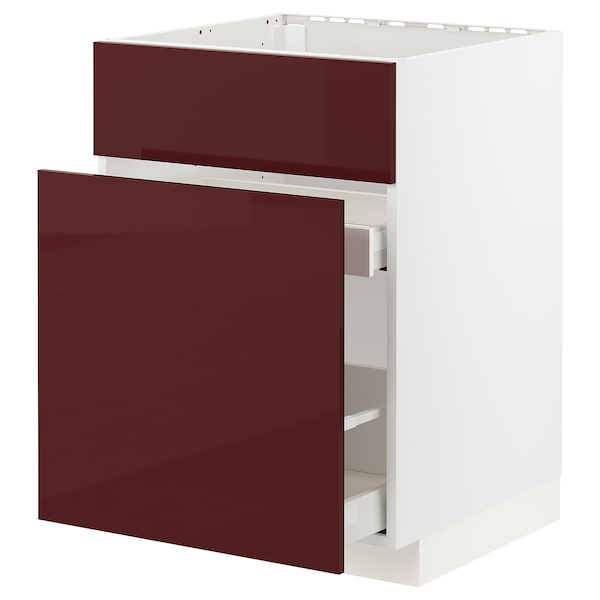 METOD / MAXIMERA Base cab f sink+3 fronts/2 drawers, white Kallarp/high-gloss dark red-brown, 60x60x80 cm