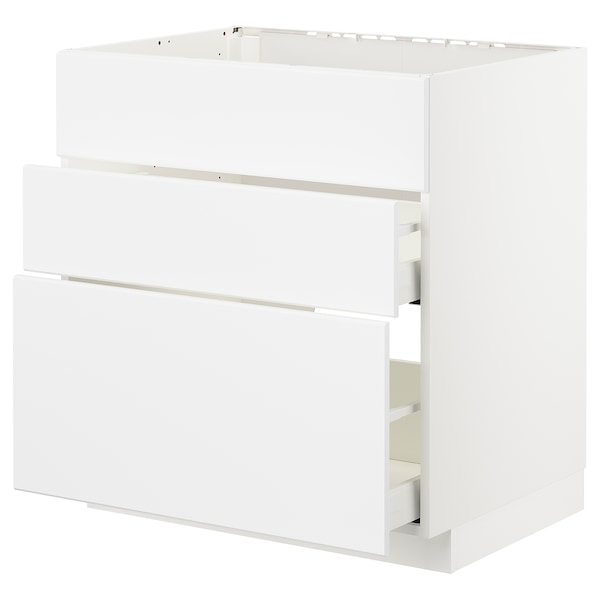 METOD / MAXIMERA Base cab f sink+3 fronts/2 drawers, white/Kungsbacka matt white, 80x60x80 cm