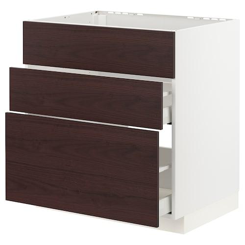 METOD / MAXIMERA base cab f sink+3 fronts/2 drawers white Askersund/dark brown ash effect 80.0 cm 61.6 cm 60.0 cm 80.0 cm