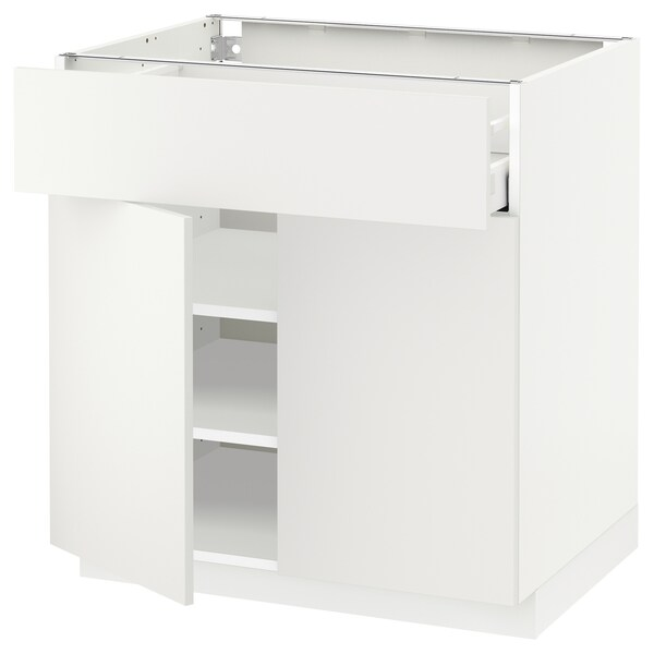 METOD / MAXIMERA base cabinet with drawer/2 doors white/Häggeby white 80.0 cm 60 cm 61.6 cm 80.0 cm