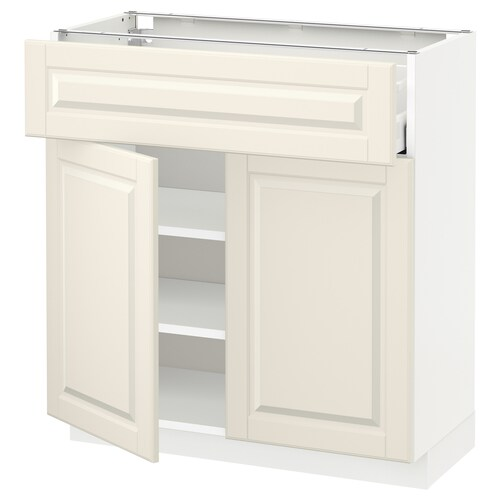 METOD / MAXIMERA base cabinet with drawer/2 doors white/Bodbyn off-white 80.0 cm 37 cm 80.0 cm