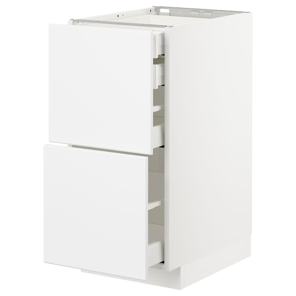 METOD / MAXIMERA base cb 2 frnts/2 low/1 md/1 hi drw white/Kungsbacka matt white 40.0 cm 61.6 cm 60.0 cm 80.0 cm