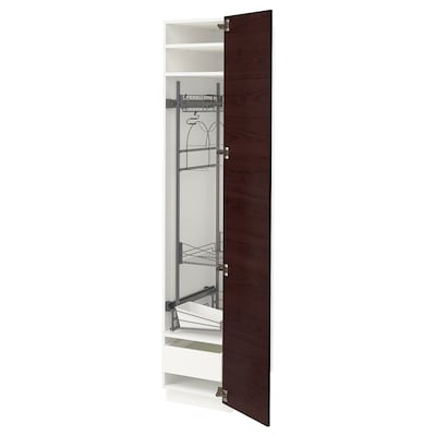METOD / MAXIMERA High cabinet with cleaning interior, white Askersund/dark brown ash effect, 40x60x200 cm