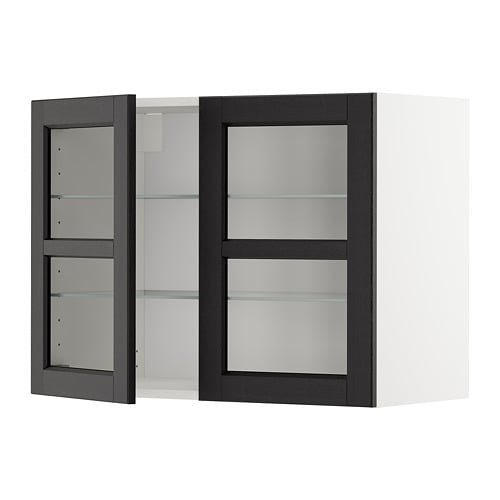 METOD Wall cabinet w shelves/2 glass drs - white Laxarby black-brown 60x37x80 cm - IKEA  sc 1 st  Ikea : wall cabinet shelves - Cheerinfomania.Com