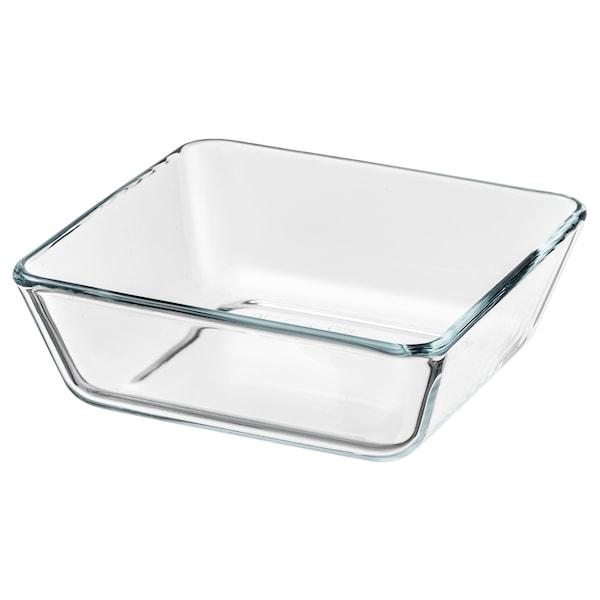MIXTUR Oven/serving dish, clear glass, 15x15 cm