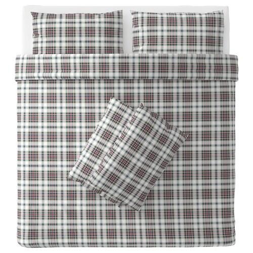 MOSSRUTA quilt cover and 4 pillowcases multicolour/check 86 /inch² 4 pieces 220 cm 240 cm 50 cm 80 cm