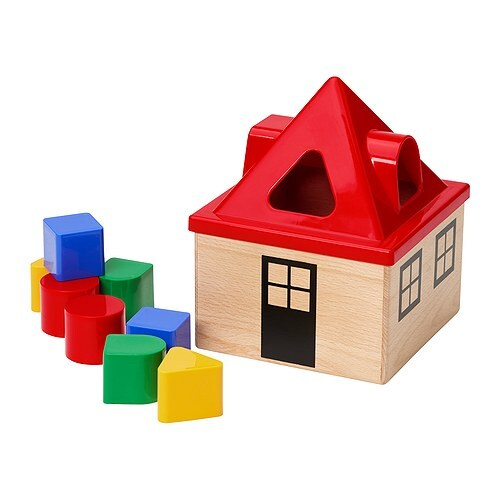 MULA Shape sorter IKEA Helps the child develop fine motor skills and hand/eye co-ordination.
