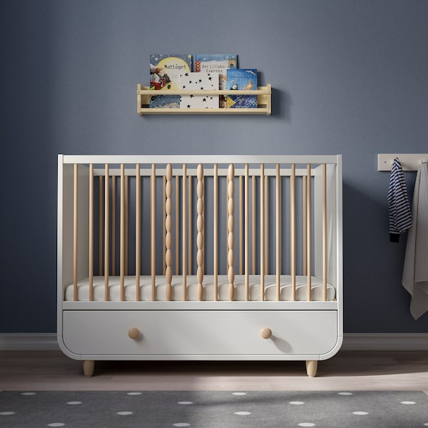 MYLLRA Cot with drawer, white, 60x120 cm
