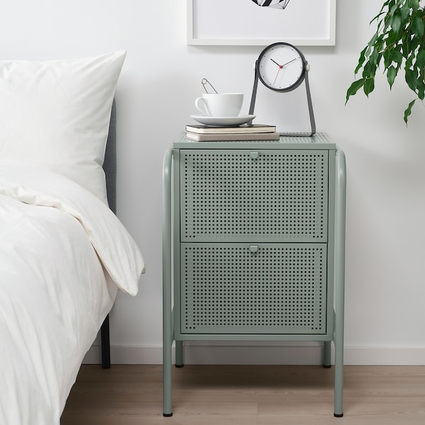 NIKKEBY Chest of 2 drawers, grey-green, 46x70 cm