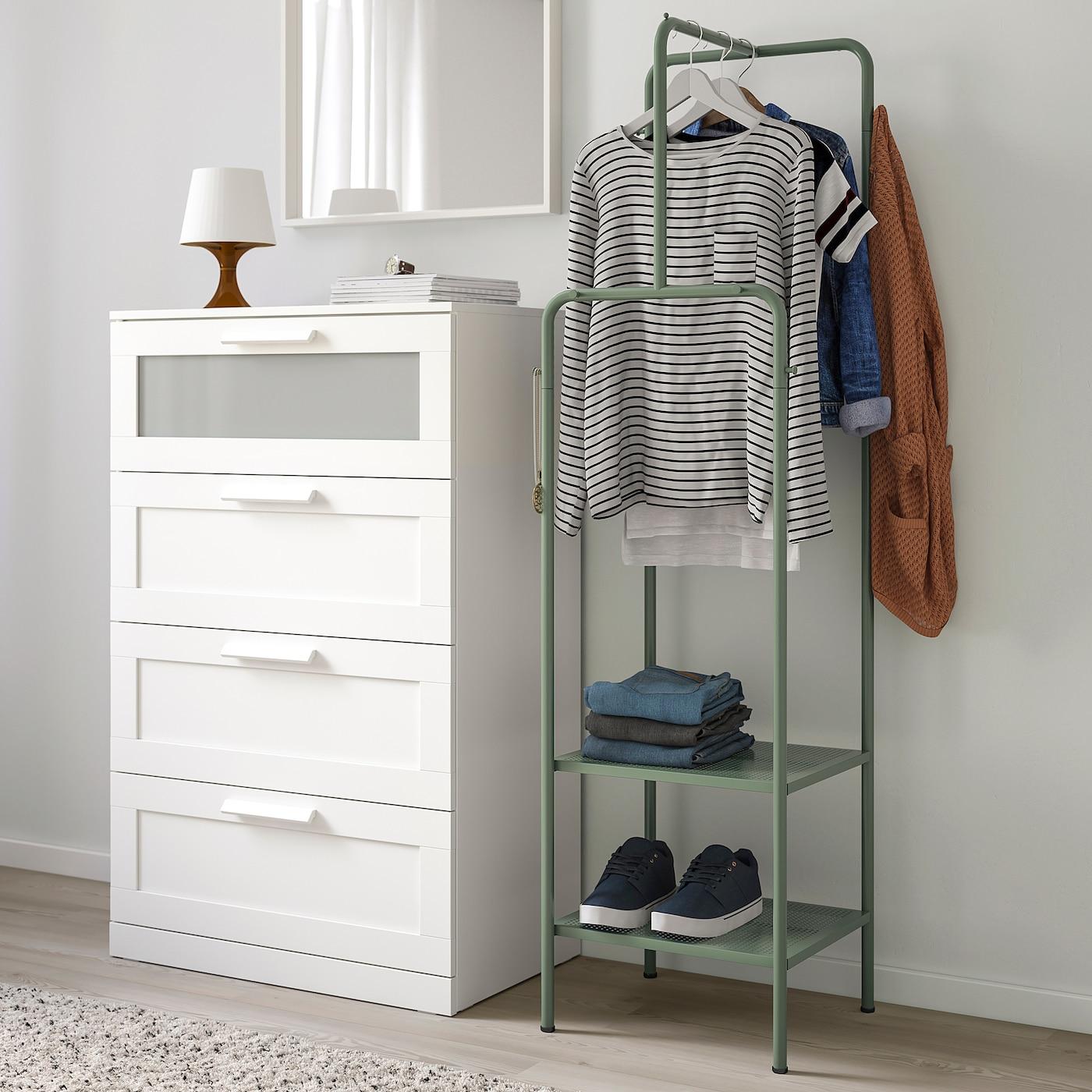 NIKKEBY Clothes rack, grey-green, 45x170 cm