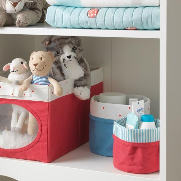 NÖJSAM basket, set of 2 red/blue