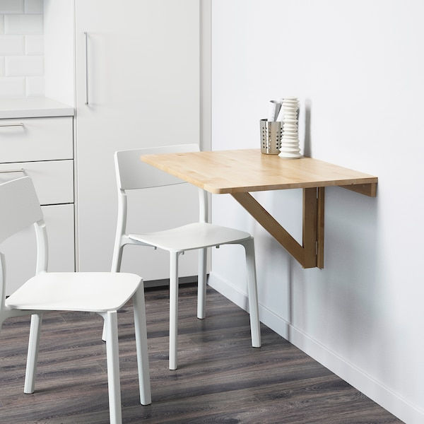 NORBO Wall-mounted drop-leaf table, birch, 79x59 cm