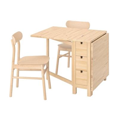 NORDEN / RÖNNINGE Table and 2 chairs, birch/birch, 26/89/152 cm