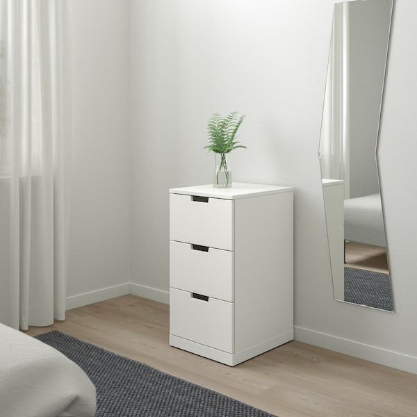 NORDLI Chest of 3 drawers, white, 40x76 cm