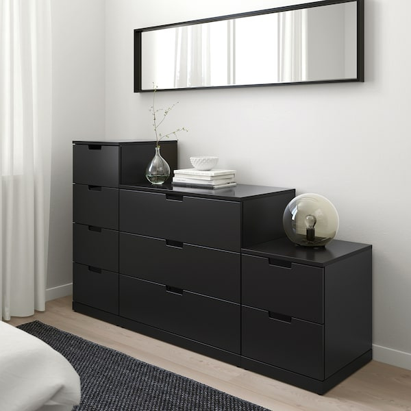 NORDLI Chest of 9 drawers, anthracite, 160x99 cm