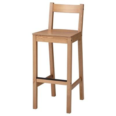 NORDVIKEN Bar stool with backrest, antique stain, 75 cm