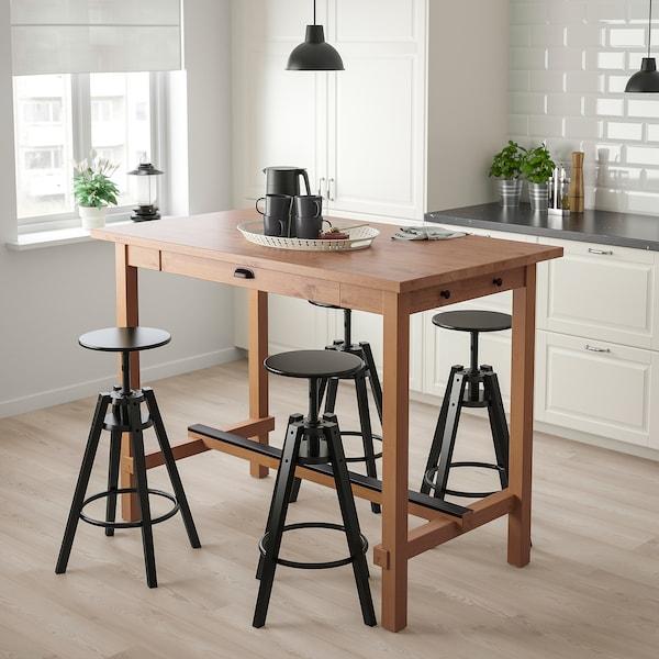 NORDVIKEN Bar table, antique stain, 140x80x105 cm