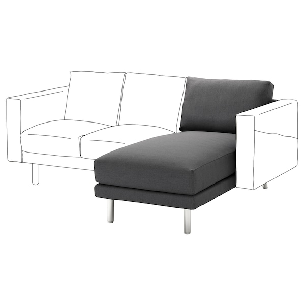 NORSBORG Chaise longue section, Finnsta dark grey/metal