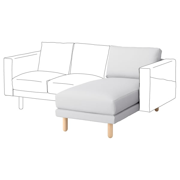 NORSBORG Chaise longue section, Finnsta white/birch