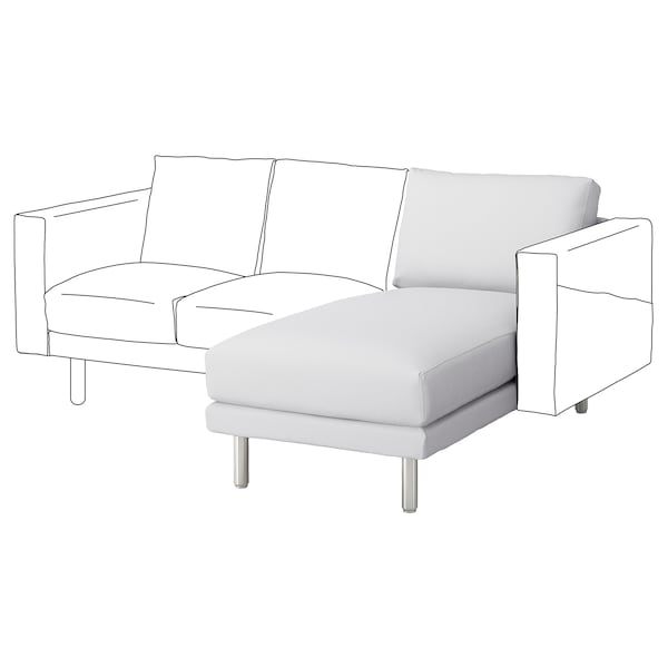 NORSBORG Chaise longue section, Finnsta white/metal