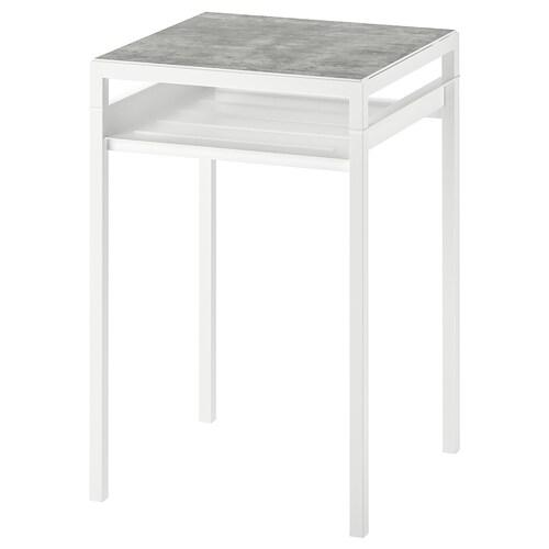 NYBODA side table w reversible table top light grey concrete effect/white 40 cm 40 cm 60 cm