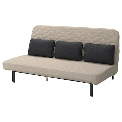 NYHAMN Sofa-bed with triple cushion, with foam mattress/Hyllie beige