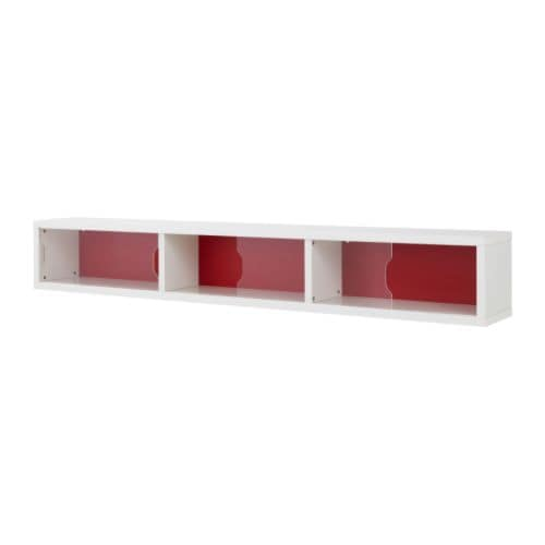 ODDA Wall cabinet with sliding door IKEA Can be hung on the wall as a shelf or placed on the floor as a bedside table beside ODDA bed with storage.