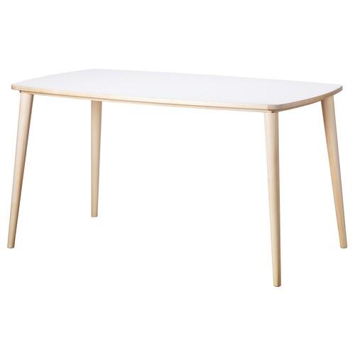 OMTÄNKSAM table white/birch 138 cm 78 cm 74 cm