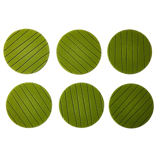 PANNÅ coaster green 10 cm 6 pieces